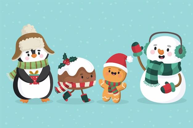 Collezione di personaggi natalizi disegnati a mano Vettore gratuito