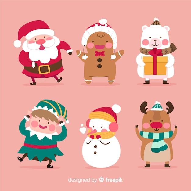 Collezione di personaggi natalizi piatti Vettore gratuito