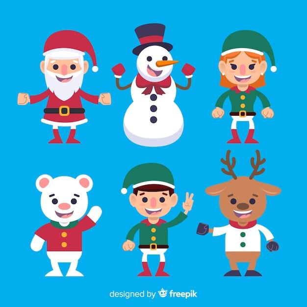 Collezione di personaggi natalizi sventolando piatto Vettore gratuito