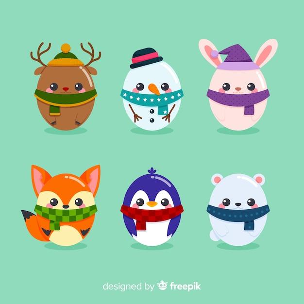 Collezione di personaggi natalizi Vettore gratuito