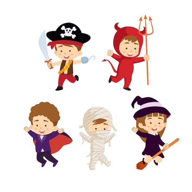 Collezione di personaggi per bambini di halloween Vettore Premium