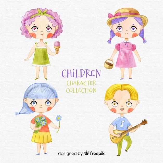Collezione di personaggi per bambini Vettore gratuito