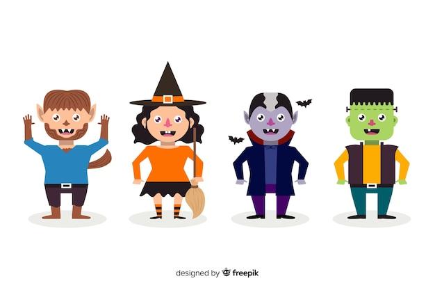 Collezione di personaggi piatti di halloween per bambini Vettore gratuito