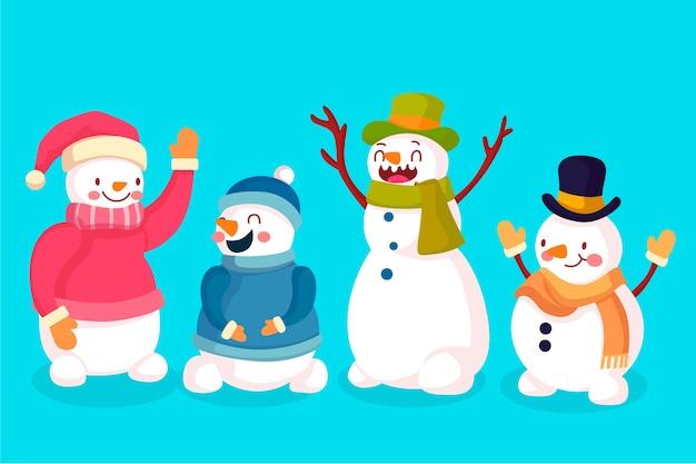 Collezione di personaggi pupazzo di neve in design piatto Vettore gratuito