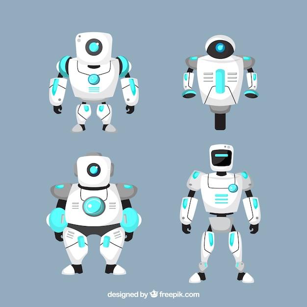 Collezione di personaggi robot di design piatto Vettore gratuito