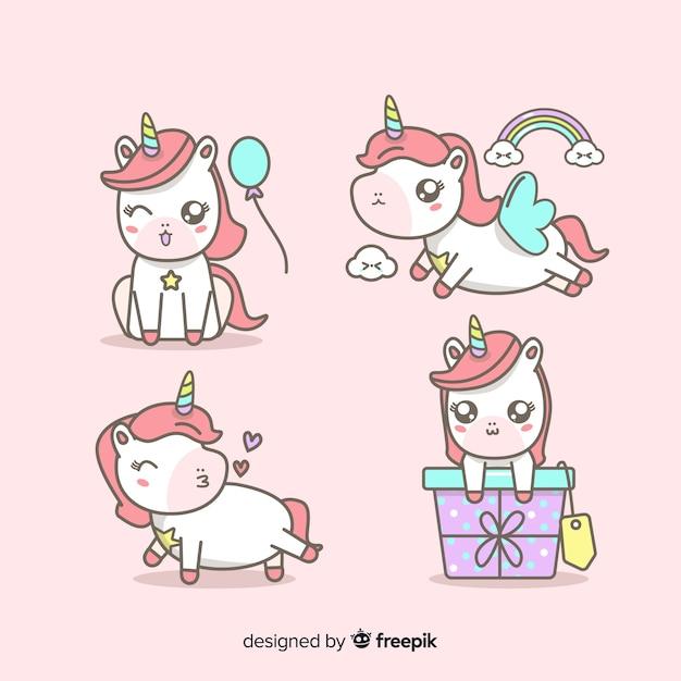 Collezione di personaggi unicorno in stile kawaii Vettore gratuito