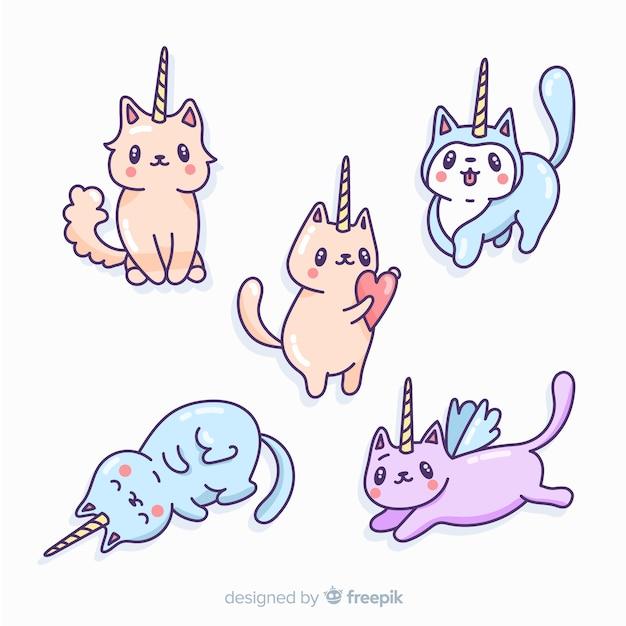 Collezione di personaggi unicorno kawaii Vettore gratuito