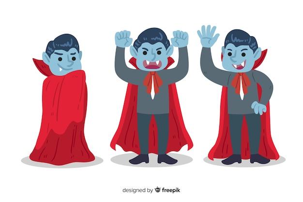 Collezione di personaggi vampiro disegnati a mano su sfondo bianco Vettore gratuito