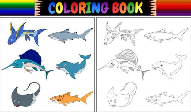 Collezione Di Pesci Marini Da Colorare Scaricare Vettori Premium