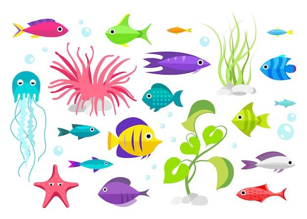 Collezione di pesci stile cartone animato illustrazione degli abitanti dell'acquario Vettore gratuito