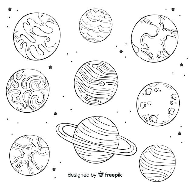 Collezione di pianeti disegnati a mano in stile doodle Vettore gratuito