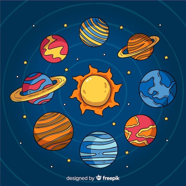 Collezione di pianeti disegnati a mano Vettore gratuito