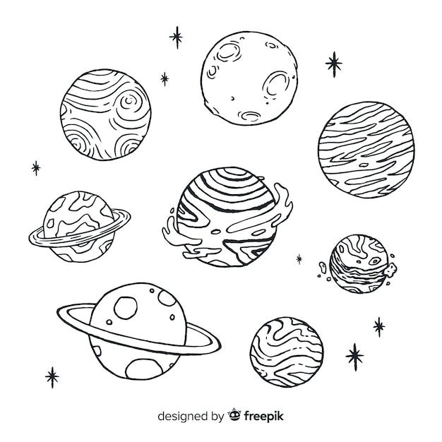 Collezione di pianeti schizzo disegnato a mano in stile doodle Vettore gratuito