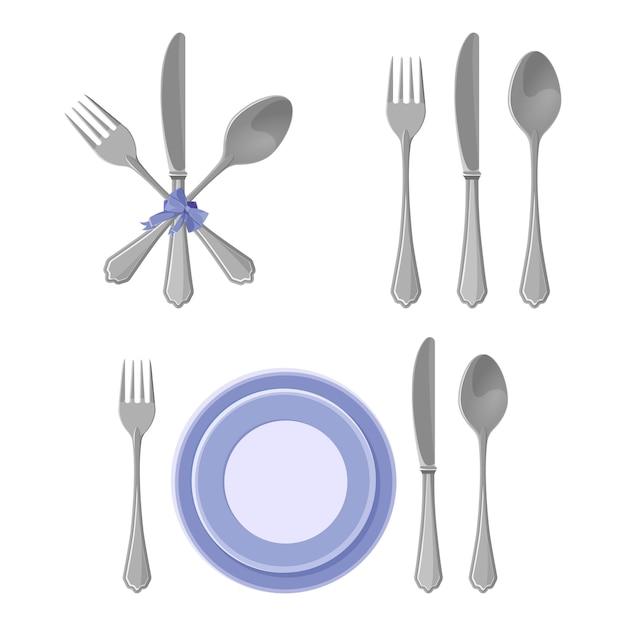 Collezione di piatti d'argento isolato, coltelli e forchette con cucchiai Vettore Premium
