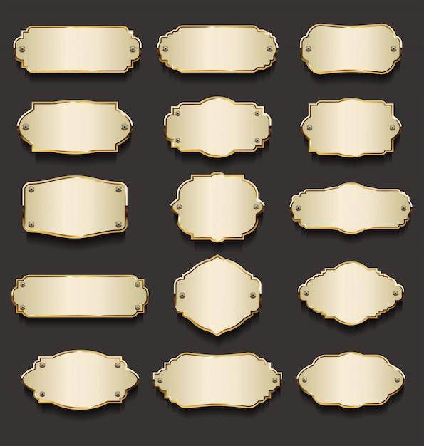 Collezione di piatti in metallo dorato Vettore Premium