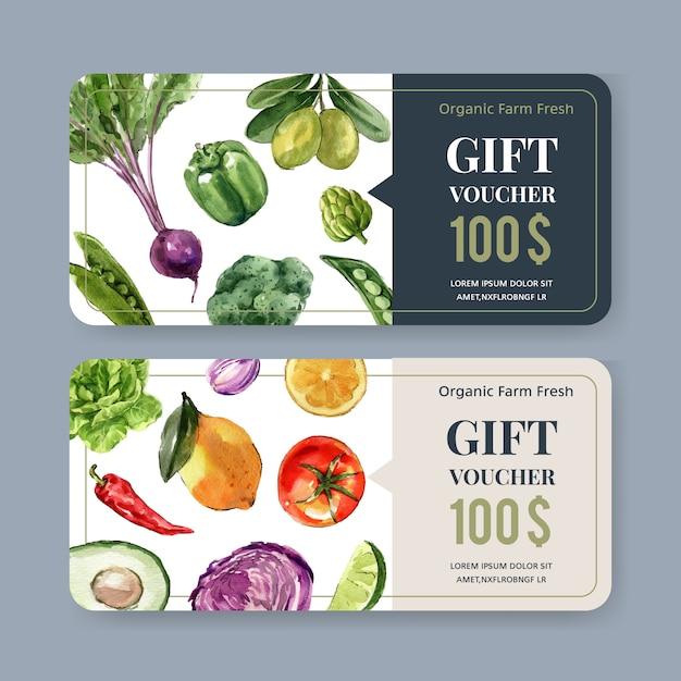 Collezione di pittura ad acquerello vegetale di buono regalo. illustrazione sana organica dell'alimento fresco Vettore gratuito