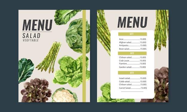 Collezione di pittura ad acquerello vegetale. illustrazione sana del menu organico dell'alimento fresco Vettore gratuito