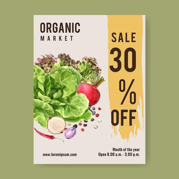Collezione di pittura ad acquerello vegetale. illustrazione sana dell'aletta di filatoio organica del manifesto dell'alimento fresco Vettore gratuito