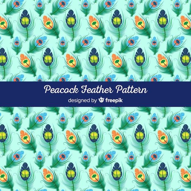 Collezione di piume di pavone con design piatto Vettore gratuito
