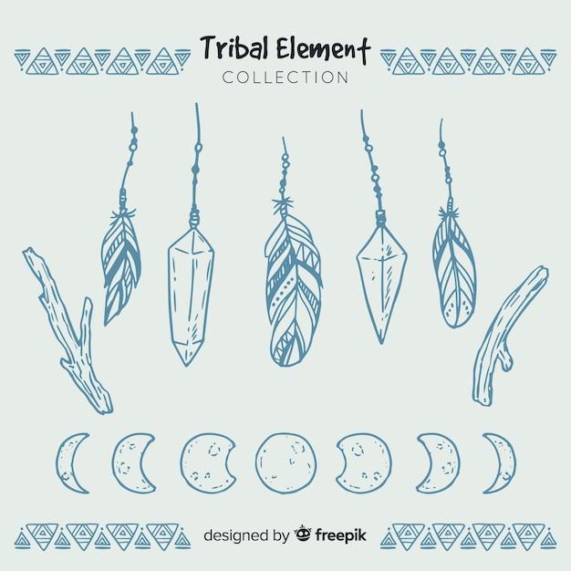 Collezione di piume tribali disegnate a mano Vettore gratuito