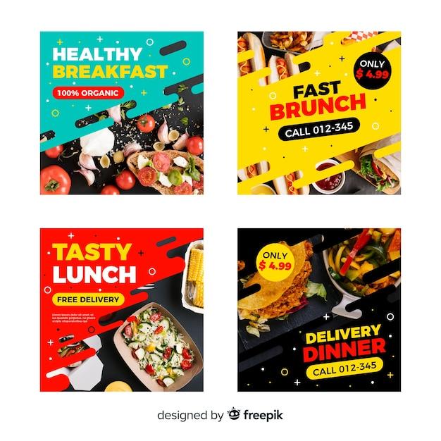 Collezione di post di instagram culinaria con foto Vettore gratuito