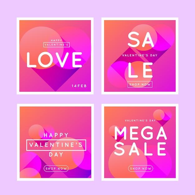 Collezione di post instagram di san valentino Vettore gratuito