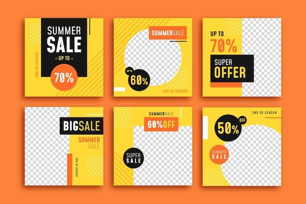 Collezione di post instagram di vendita estiva di fine stagione Vettore gratuito