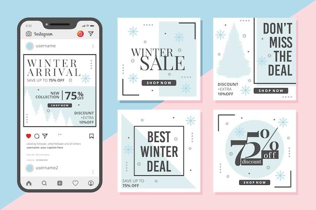 Collezione di post instagram vendita invernale Vettore gratuito