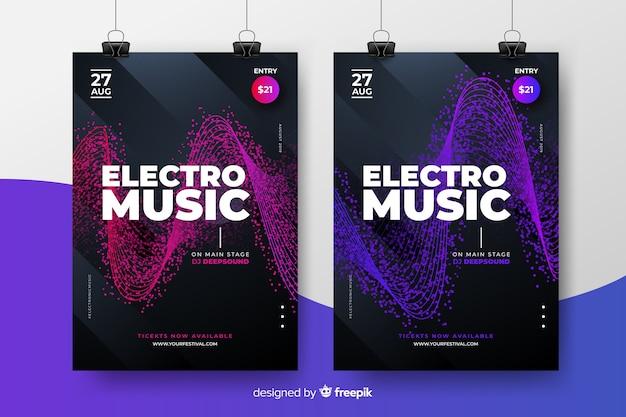 Collezione di poster del festival di musica elettronica Vettore gratuito