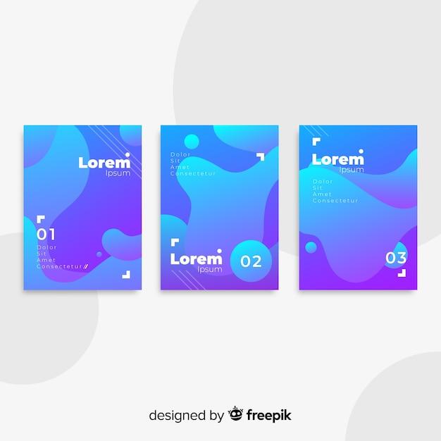 Collezione di poster di forme fluide Vettore gratuito