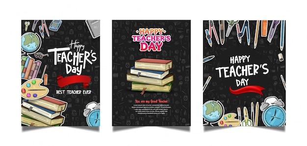 Collezione di poster di happy teachers day Vettore Premium