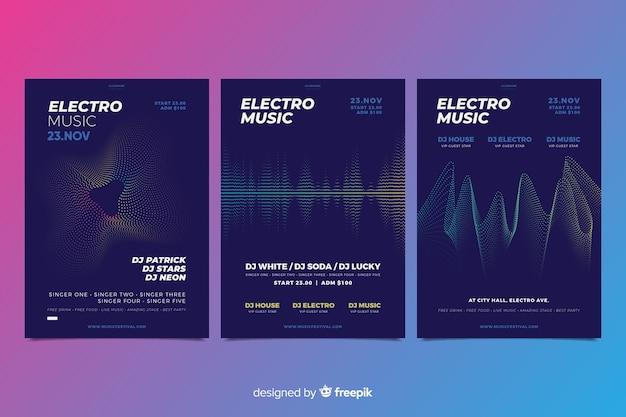 Collezione di poster di musica elettronica wave sound Vettore gratuito