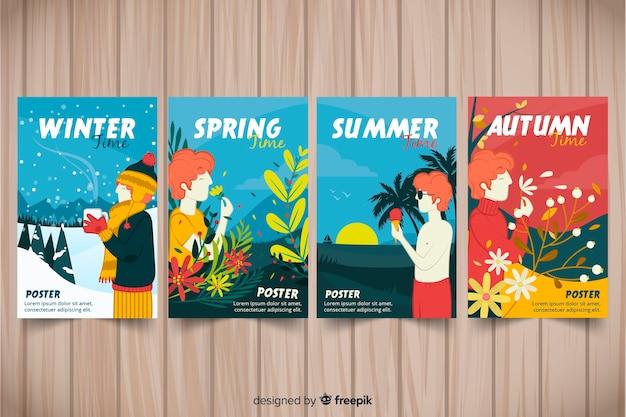 Collezione di poster stagionali disegnati a mano Vettore gratuito