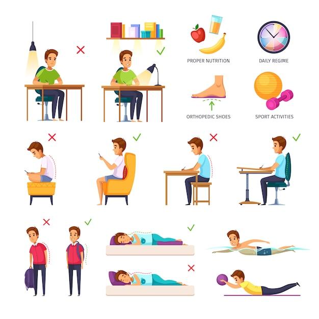 Collezione di posture per bambini in età scolare Vettore gratuito