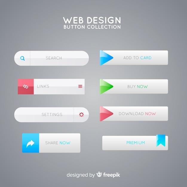 Collezione di pulsanti web design Vettore gratuito
