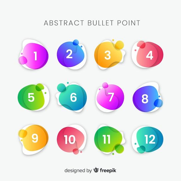 Collezione di punti elenco colorato astratto Vettore gratuito