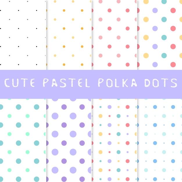 Collezione di puntini pastello polka Vettore gratuito