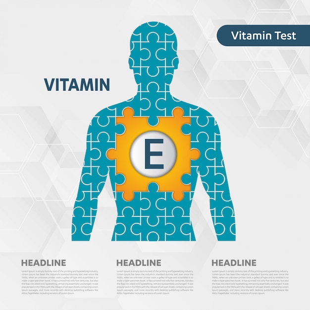 Collezione di puzzle corpo icona icona vitamina e Vettore Premium