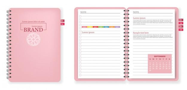 Collezione di quaderno rosa Vettore Premium