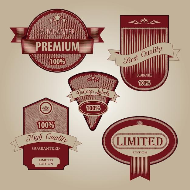 Collezione di qualità premium con design in stile vintage retrò Vettore Premium