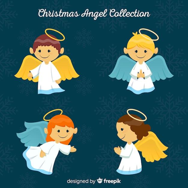 Collezione di quattro angeli natalizi Vettore gratuito