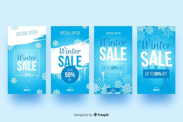 Collezione di racconti instagram vendita invernale Vettore gratuito