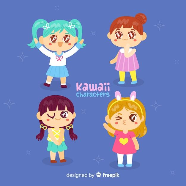 Collezione di ragazze kawaii disegnate a mano Vettore gratuito