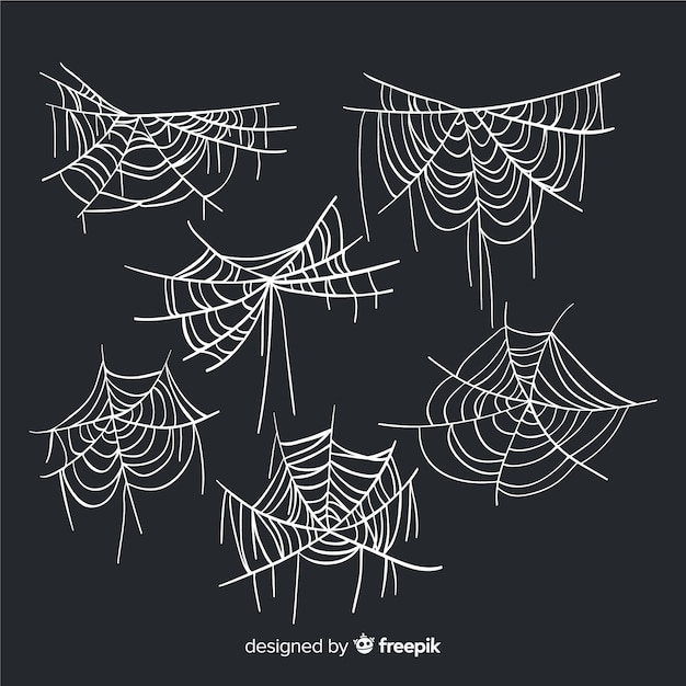 Collezione di ragnatele disegnate a mano Vettore gratuito
