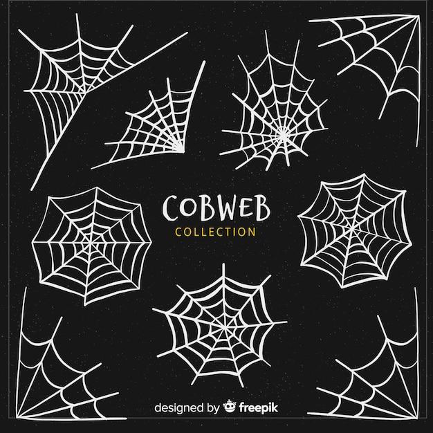 Collezione di ragnatele halloween creativo Vettore gratuito