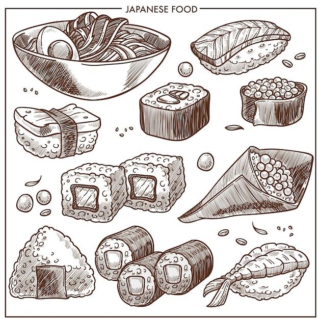 Collezione di ricette di cucina giapponese Vettore Premium