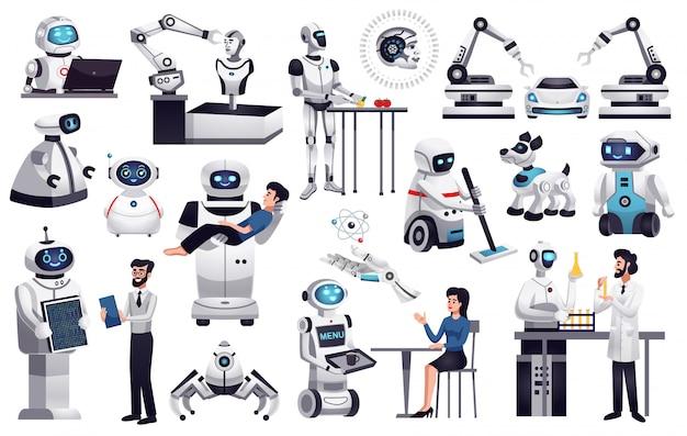 Collezione di robot realistici Vettore gratuito