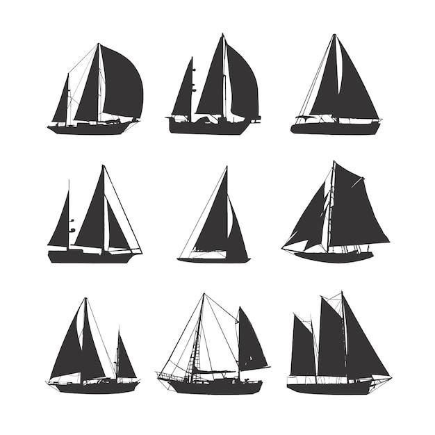 Collezione di sagome di barche a vela. Vettore Premium