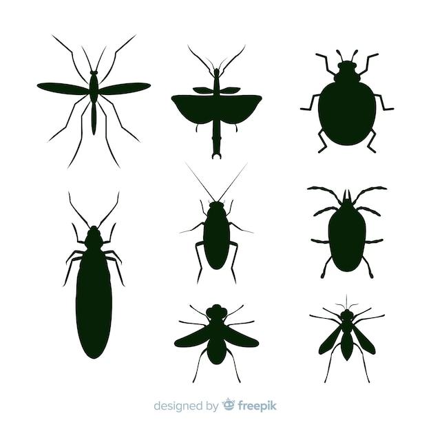 Collezione di sagome di insetti neri Vettore gratuito