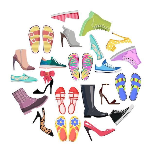Collezione di scarpe in cornice rotonda banner isolato Vettore Premium